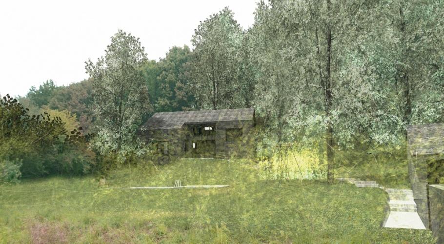 Maison neuve taillée dans un bloc de schiste