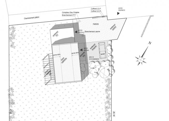 Maison ossature bois labelisée BBC : Plan de masse