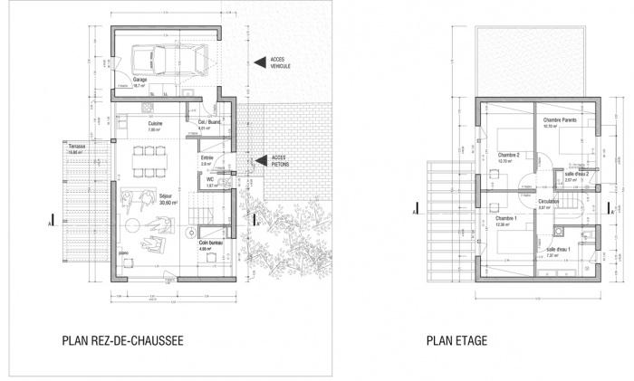 Maison ossature bois labelisée BBC : Plans de niveaux