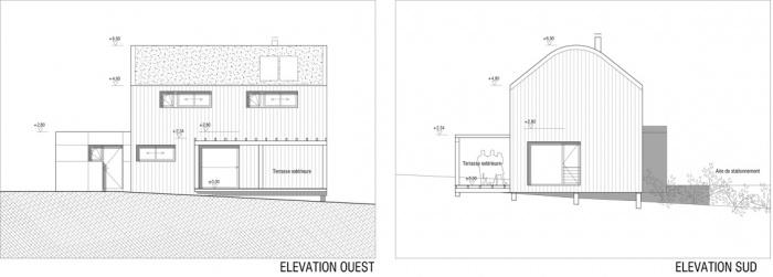 Maison ossature bois labelisée BBC : Elévations