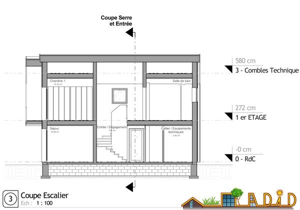 Maison 'Coeur de soleil' : Coupe escalier