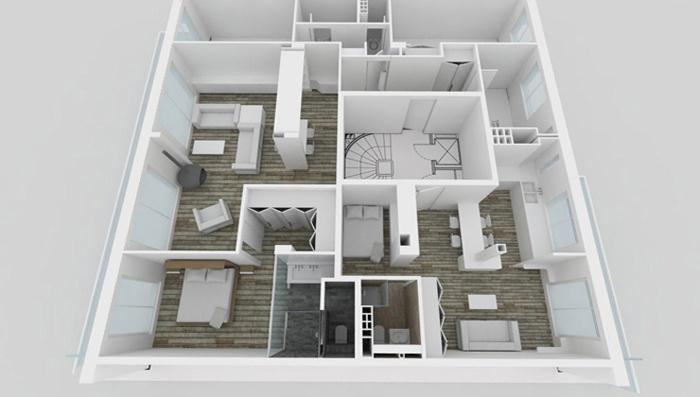 Appartement familial + Studio en annexe : Maquette APRES