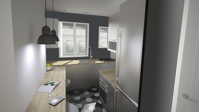 Duplex sous les toits à Montmartre : Cuisine 5e