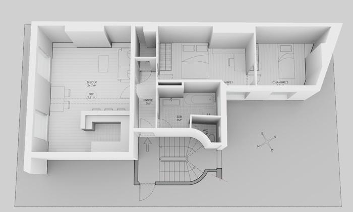 Duplex sous les toits à Montmartre : Maquette 5e AVANT