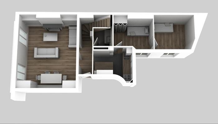 Duplex sous les toits à Montmartre : Maquette 5e APRES