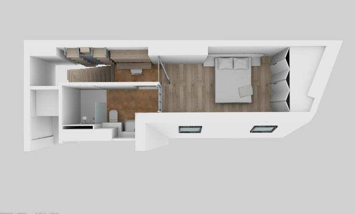 Duplex sous les toits à Montmartre : Maquette 6e APRES