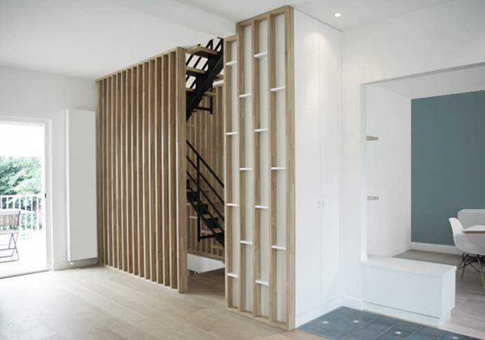Rénovation + surélévation d'un pavillon : yeme-saunier-nogent-escalier-salle-a-manger