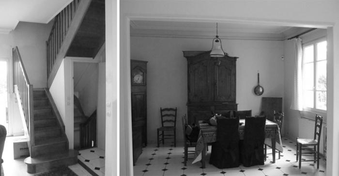 Rénovation + surélévation d'un pavillon : yeme-saunier-escalier-salle-a-manger-avant-travaux