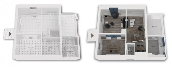 Rénovation + surélévation d'un pavillon : Yeme+saunier-nogent-maquette-3d-rdc-avant-apres