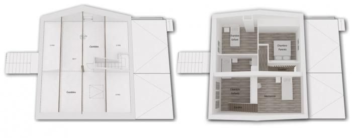 Rénovation + surélévation d'un pavillon : Yeme+saunier-nogent-maquette-3d-etage-avant-apres