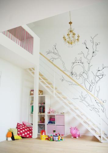 Rénovation + surélévation d'un pavillon : yeme-saunier-nogent-chambre-enfants-totoro-arbre